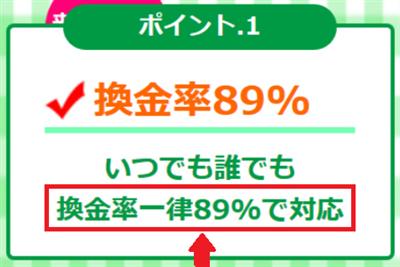 換金率は一律89%?
